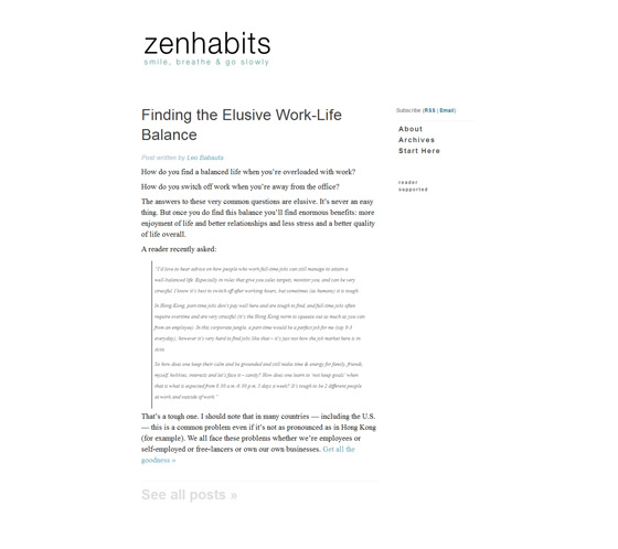 Zen Habits | Web Design